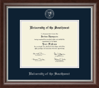 University of the Southwest Diploma Frame - Silver Embossed Diploma Frame in Devonshire
