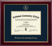 Kirkwood Community College Diploma Frame - Gold Embossed Diploma Frame in Gallery