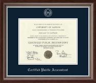Certified Public Accountant Certificate Frame - Silver Embossed Certificate Frame in Devonshire