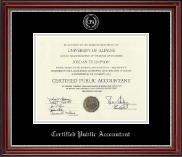 Certified Public Accountant Certificate Frame - Silver Embossed Certificate Frame in Kensington Silver