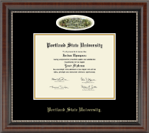 Portland State University Diploma Frame - Campus Cameo Diploma Frame in Chateau