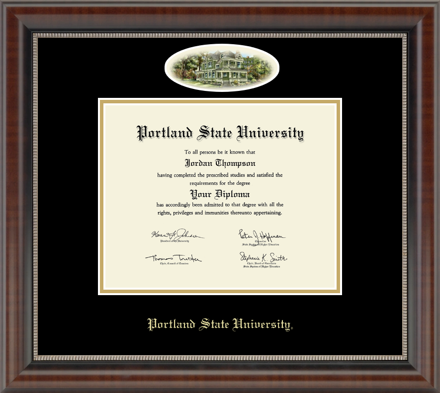 portland state university diploma frame campus cameo diploma frame in chateau
