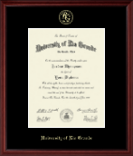 University of Rio Grande Diploma Frame - Gold Embossed Diploma Frame in Camby