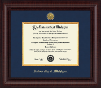 University of Michigan Diploma Frame - Presidential Gold Engraved Diploma Frame in Premier
