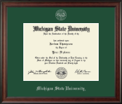 Michigan State University Diploma Frame - Silver Embossed Diploma Frame in Studio