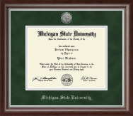 Michigan State University Diploma Frame - Silver Engraved Medallion Diploma Frame in Devonshire