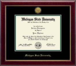 Michigan State University Diploma Frame - Gold Engraved Medallion Diploma Frame in Gallery
