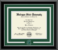 Michigan State University Diploma Frame - Spirit Medallion Diploma Frame in Onyx Silver
