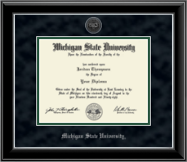 Michigan State University Diploma Frame - Silver Engraved Heirloom Edition Diploma Frame in Onyx Silver
