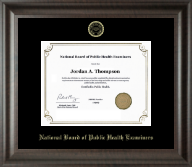 National Board of Public Health Examiners Certificate Frame - Gold Embossed Certificate Frame in Acadia