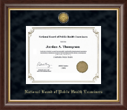 National Board of Public Health Examiners Certificate Frame - Gold Engraved Certificate Frame in Prescott