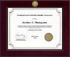 National Board of Public Health Examiners Certificate Frame - Century Gold Engraved Certificate Frame in Cordova