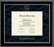 Friends University Diploma Frame - Silver Embossed Diploma Frame in Onyx Silver