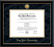 New York University Diploma Frame - Gold Engraved Medallion Diploma Frame in Onyx Gold
