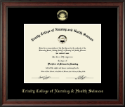 Trinity College of Nursing & Health Sciences Diploma Frame - Gold Embossed Diploma Frame in Studio