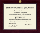The University of Texas Pan American Diploma Frame - Century Gold Engraved Diploma Frame in Cordova