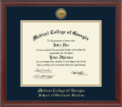 Medical College of Georgia Diploma Frame - Gold Engraved Diploma Frame in Signature