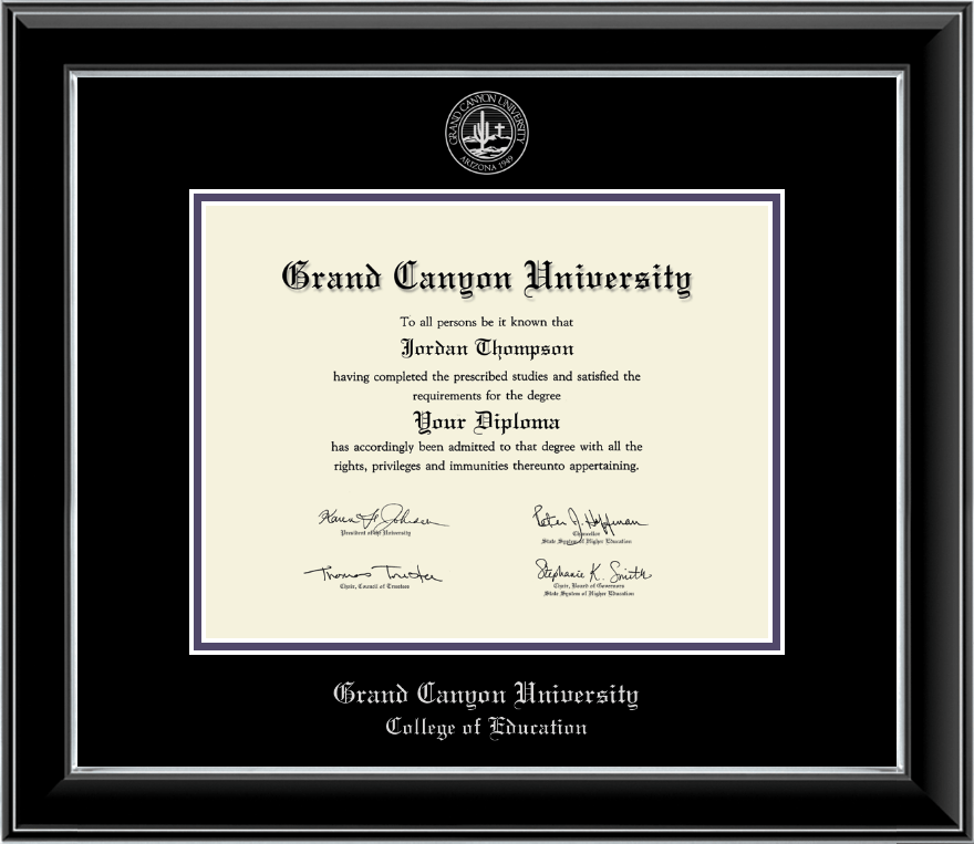 grand canyon university silver embossed diploma frame in onyx silver item 202833 gec. Black Bedroom Furniture Sets. Home Design Ideas