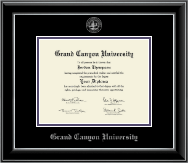 Grand Canyon University Diploma Frame - Silver Embossed Diploma Frame in Onyx Silver