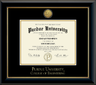 Indiana University - Purdue University Diploma Frame - Gold Engraved Medallion Diploma Frame in Onyx Gold