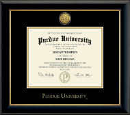 Purdue University Diploma Frame - Gold Engraved Medallion Diploma Frame in Onyx Gold