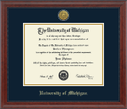 University of Michigan Diploma Frame - Gold Engraved Medallion Diploma Frame in Signature