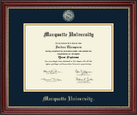 Marquette University Diploma Frame - Brass Masterpiece Medallion Diploma Frame in Kensington Gold