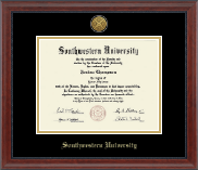 Southwestern University Diploma Frame - Gold Engraved Diploma Frame in Signature