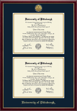 University of Pittsburgh Diploma Frame - Gold Engraved Double Diploma Frame in Galleria