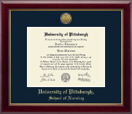 University of Pittsburgh Diploma Frame - Gold Engraved Medallion Diploma Frame in Gallery