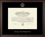 College of the Holy Cross Diploma Frame - Gold Embossed Diploma Frame in Studio