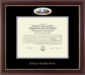 college of the holy cross diploma frame campus cameo diploma frame in chateau