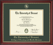 The University of Vermont Diploma Frame - Masterpiece Medallion Diploma Frame in Kensington Gold