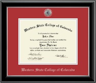 Western State College of Colorado Diploma Frame - Silver Engraved Diploma Frame in Onyx Silver