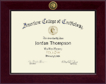 American College of Cardiology Certificate Frame - Century Gold Engraved Certificate Frame in Cordova