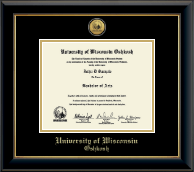 University of Wisconsin Oshkosh Diploma Frame - Gold Engraved Medallion Diploma Frame in Onyx Gold