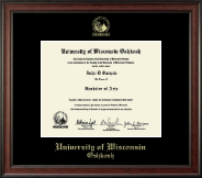 University of Wisconsin Oshkosh Diploma Frame - Gold Embossed Diploma Frame in Studio