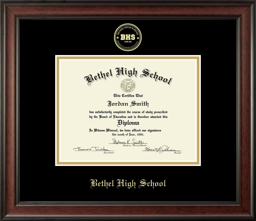 Bethel High School in Connecticut Gold Embossed Diploma Frame in ...