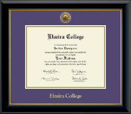 Elmira College Diploma Frame - Gold Engraved Diploma Frame in Onyx Gold