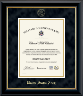 United States Army Certificate Frame - Gold Embossed Certificate Frame in Onyx Gold