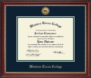 Western Texas College Diploma Frame - Gold Engraved Diploma Frame in Kensington Gold