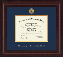 University of Wisconsin-Stout Diploma Frame - Presidential Gold Engraved Diploma Frame in Premier