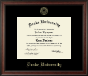 Drake University Diploma Frame - Gold Embossed Diploma Frame in Studio