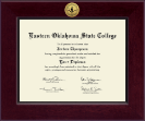 Eastern Oklahoma State College Diploma Frame - Century Gold Engraved Diploma Frame in Cordova