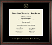 Texas State University San Marcos Diploma Frame - Gold Embossed Diploma Frame in Studio
