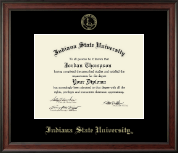 Indiana State University Diploma Frame - Gold Embossed Diploma Frame in Studio