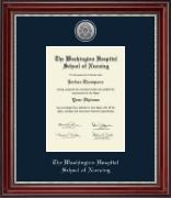 The Washington Hospital School of Nursing Diploma Frame - Silver Engraved Diploma Frame in Kensington Silver