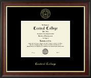 Central College Embossed Frame - Gold Embossed Diploma Frame in Studio Gold