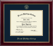 Frank Phillips College Diploma Frame - Gold Embossed Diploma Frame in Gallery