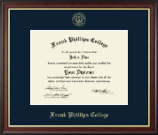 Frank Phillips College Diploma Frame - Gold Embossed Diploma Frame in Studio Gold